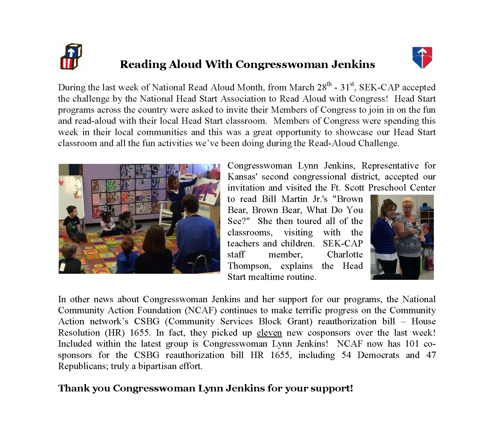 Reading Aloud With Congresswoman Jenkins